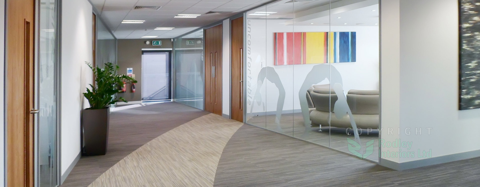 Full Height frameless glass partitions