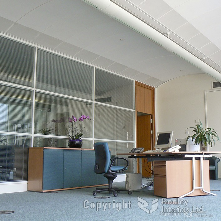 Reception area after office refurbishment in Leeds.