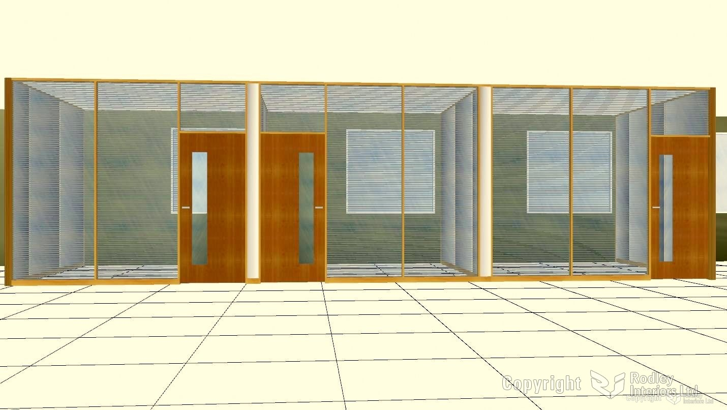 Interview Rooms Full Height Double Galzed with Blinds in Timber.