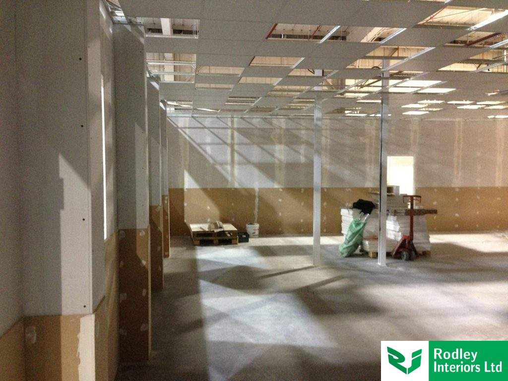 Office partitioning with MDF boards fitted