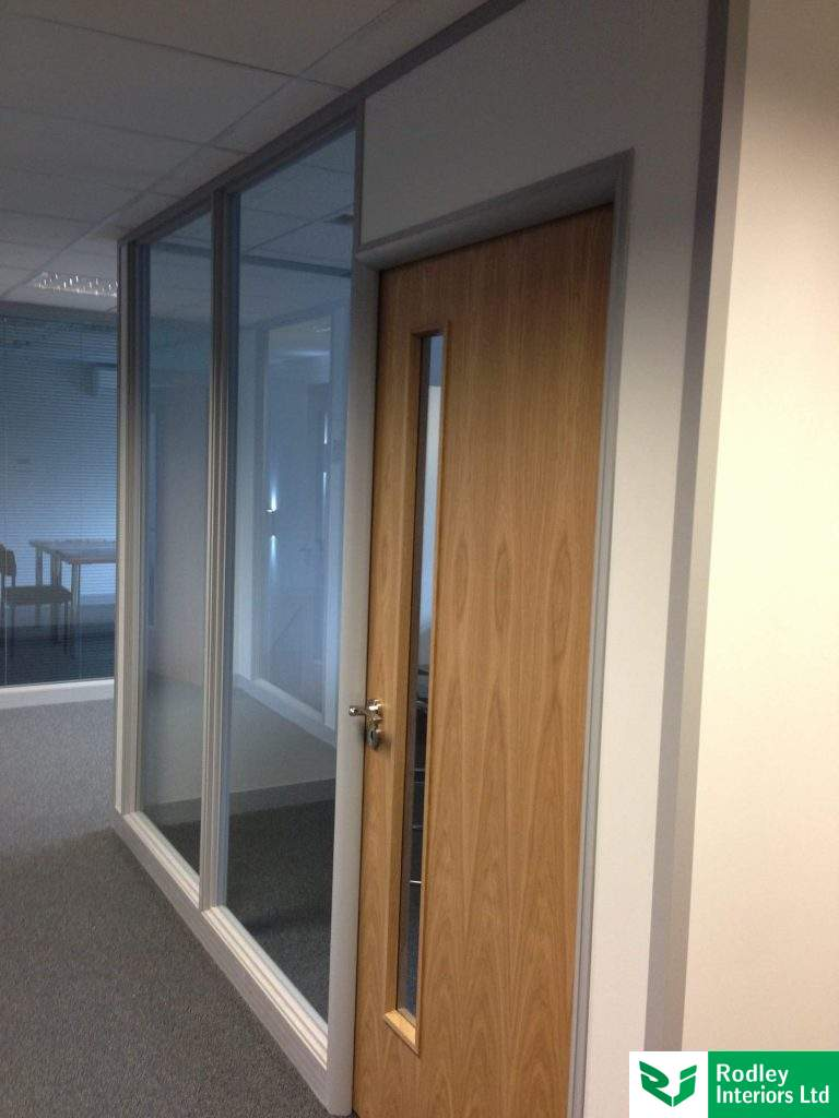 Single office door with office partitioning system framework