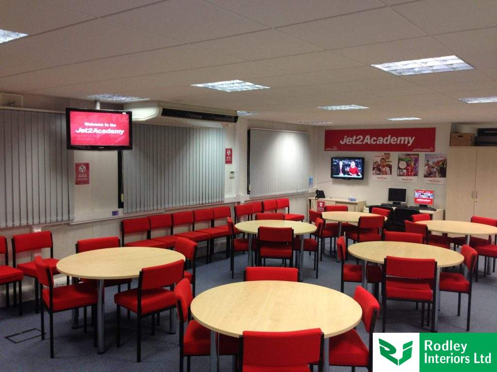 Refurbished office area with canteen round  tables and chairs