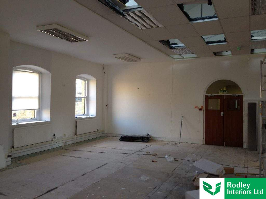 Suspended ceiling and plasterboard mf ceiling painted White.