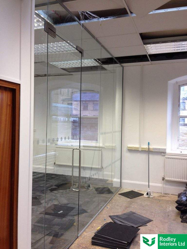 Glass screen forming meeting room