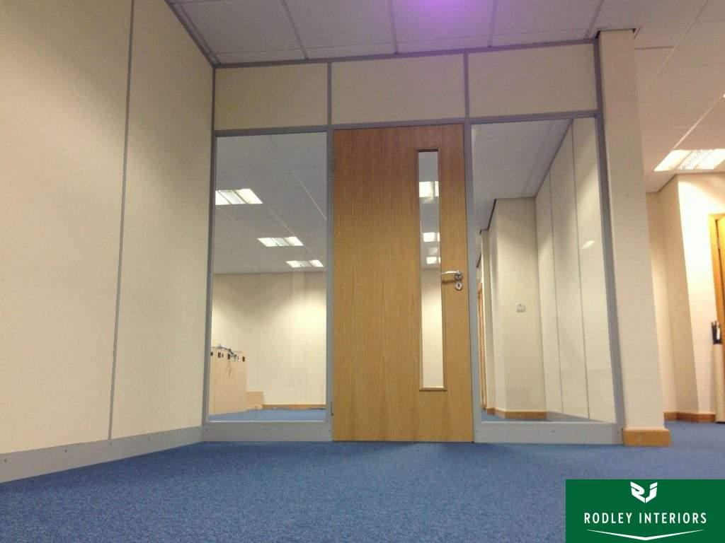Glazed partitioning to door head height.