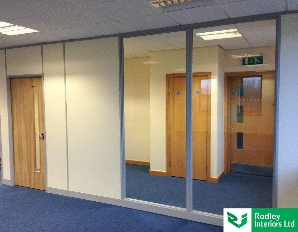 Solid and glass office partitions.