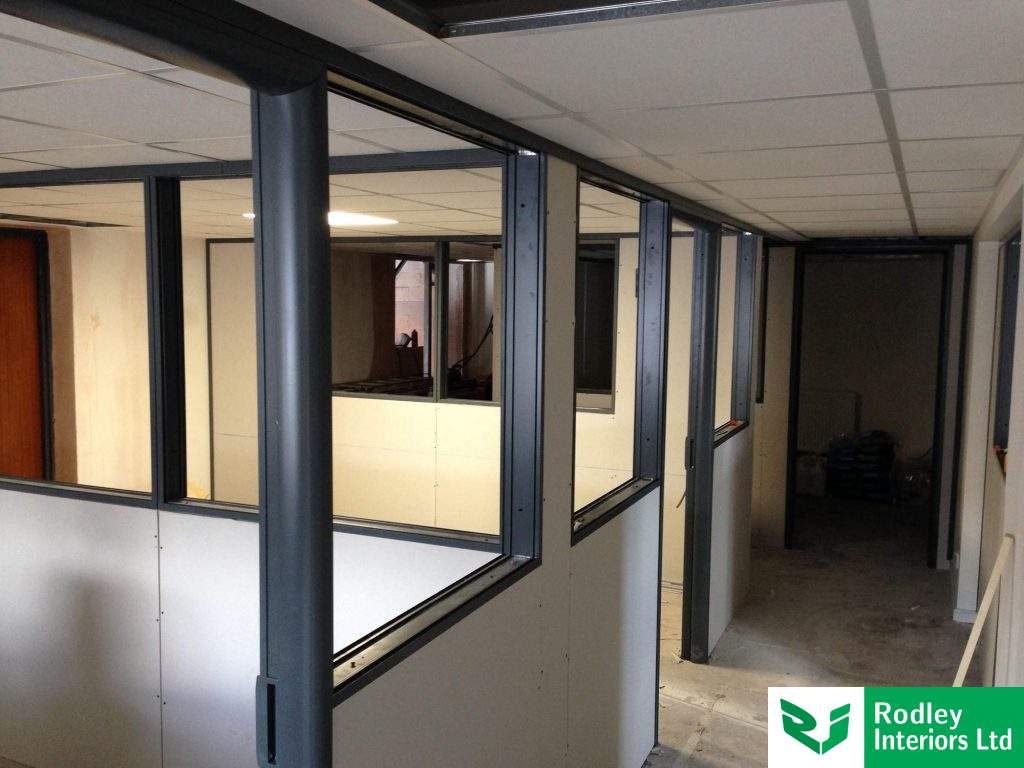 Office partitioning under construction.