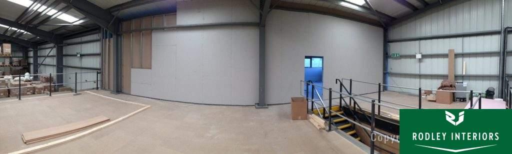 Plasterboard dividing wall.