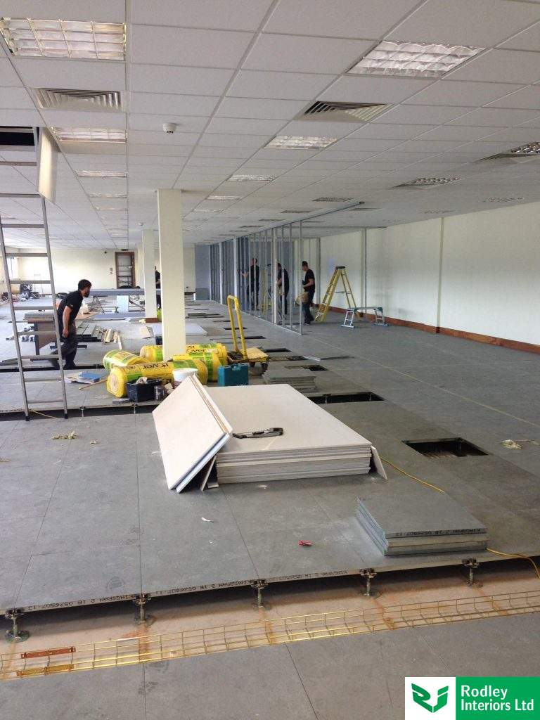 Partitioning framework forming 1st floor offices.