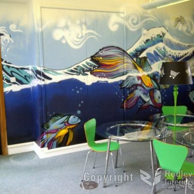 Feature wall in reception area.