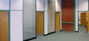 01 – 50mm partitioning forming individual offices with transom at door head height