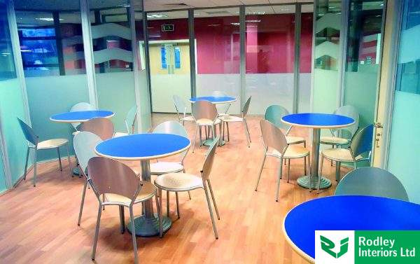 19 Glazed Office Partitions Make A Canteen Area With Low