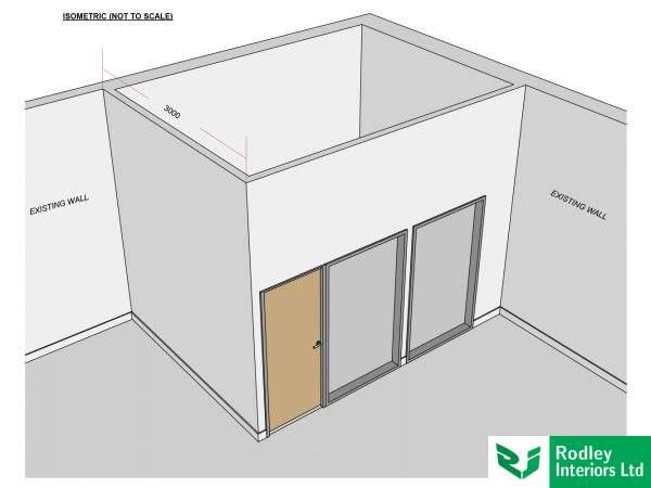 3D CAD view of office partitioning