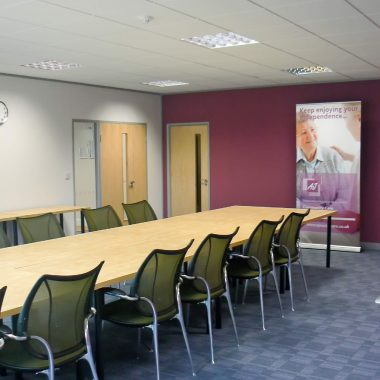 large partitioned boardroom
