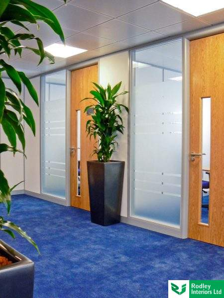 frosted glass partition with oak doors
