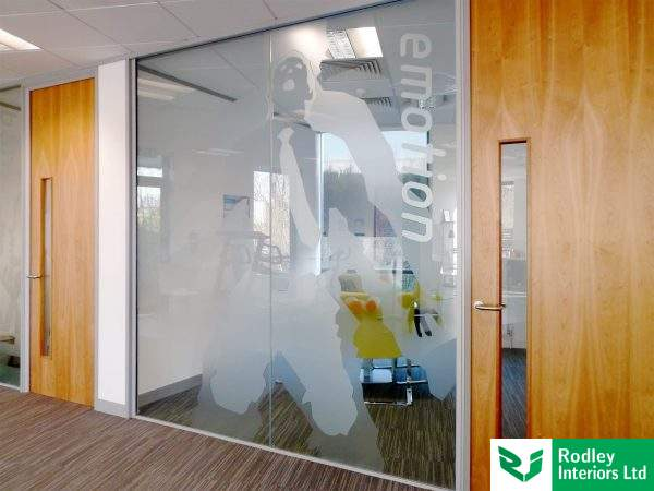office partition with window film