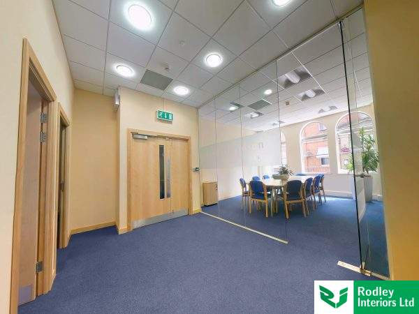 full height toughened glass partitioning