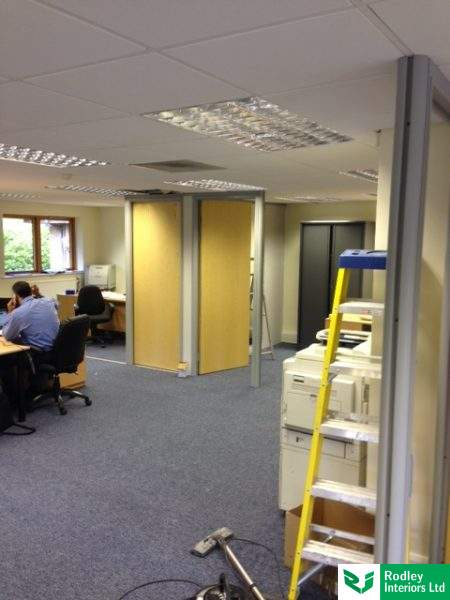 Partitioning framework and doors installed on project in Leeds.