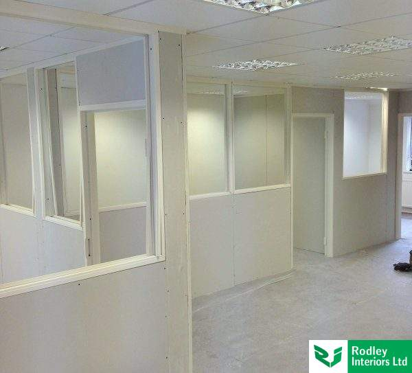 Double glazed partitions with blinds project in Leeds City Centre.