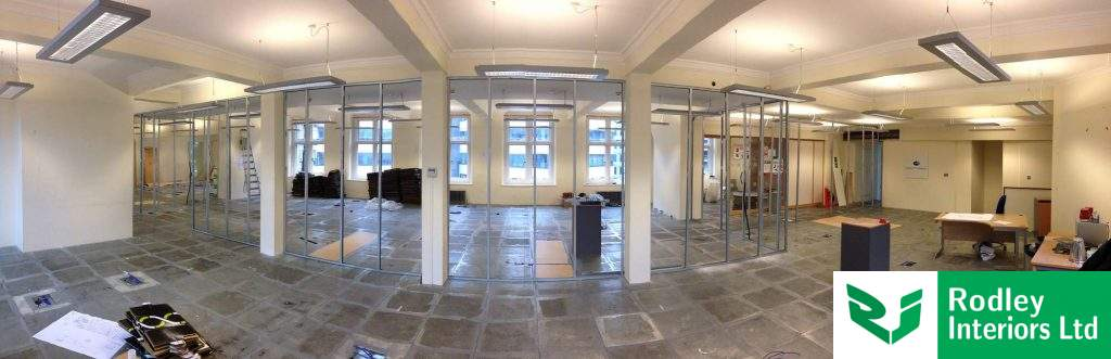 Office partitioning installation underway in Leeds.