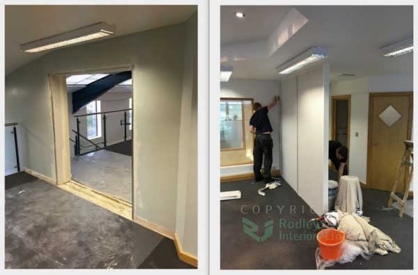 Formed opening and install of full height solid partitioning modules.
