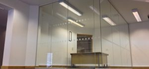Frameless glazed partitions project in Leeds