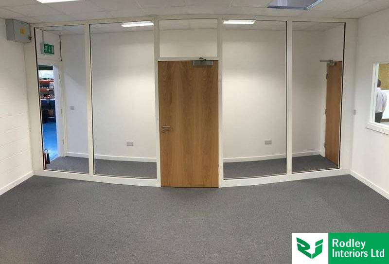 Double glazed office partition walls