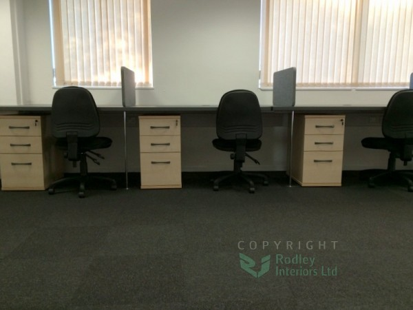 600mm deep under desk pedestals with lockable drawers.