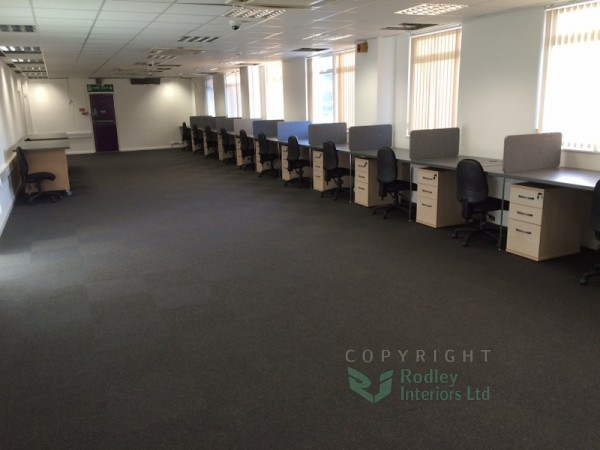 Completed office refurbishment with practical office workstations.