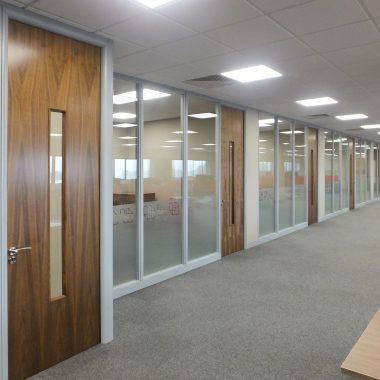 Central vision panel to office door