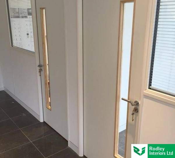 White laminate office partition doors