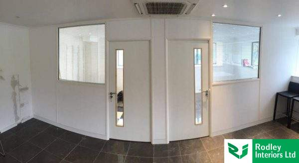 Partitioning office front in White.