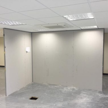 Solid partition office in West Yorkshire.