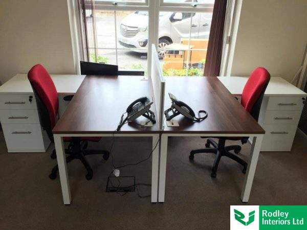 Walnut topped office desk with white legs