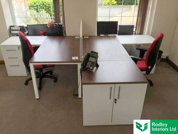 Walnut desking with white pedestals