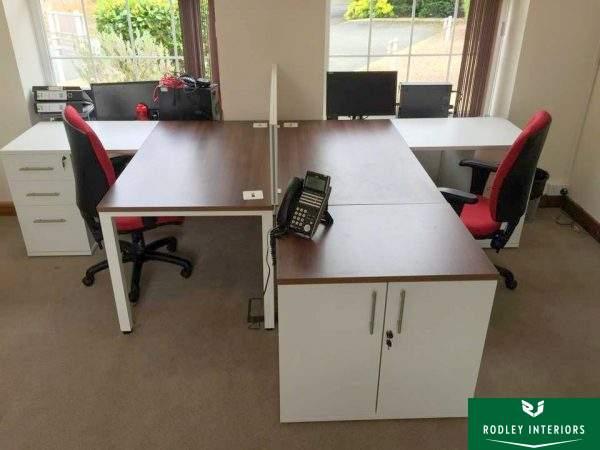 Walnut desking with white pedestals