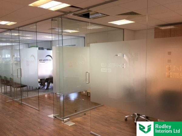 matching existing frameless glass walls