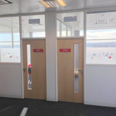 White half height glazed partitions