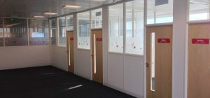 Part glazed office partitions