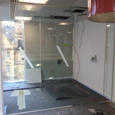 Frameless glass office built in Leeds