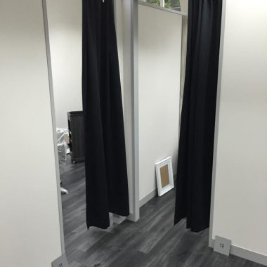 Treatment rooms formed by office partitioning