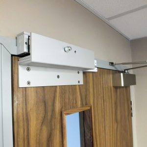 Partition door entry system.