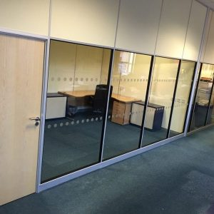 Long office run with single glazed detail