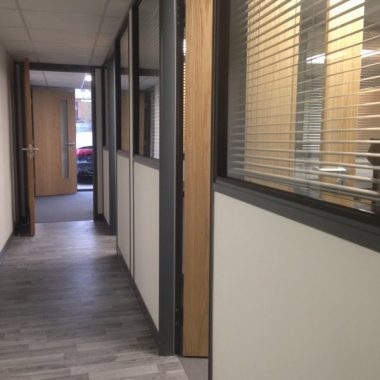 Half height glazed office partition