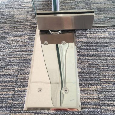 Satin stainless steel floor latch