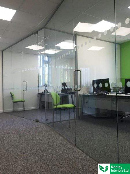 Angled frameless glass offices