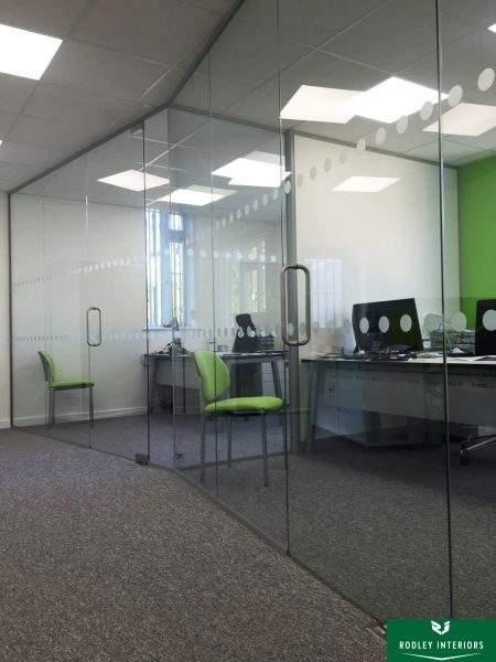 Angled frameless glass offices