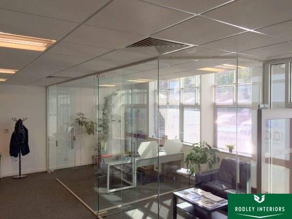 Frameless glass reception area