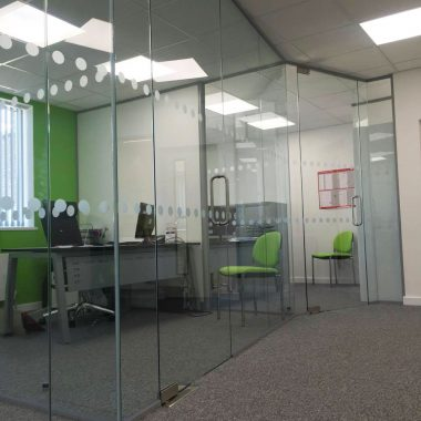 Full height frameless glass door