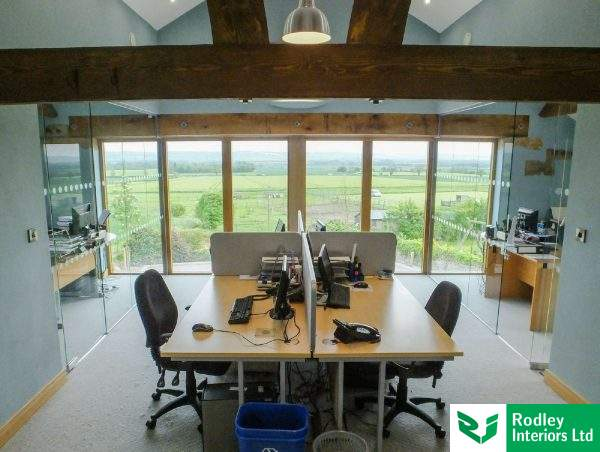 light open office with rural views
